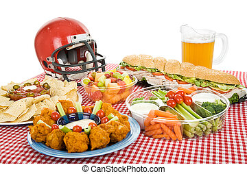 Super Bowl Party Food - Table set with munchies for a Super...