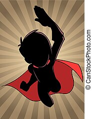 Super Boy Flying Ray Light Silhouette