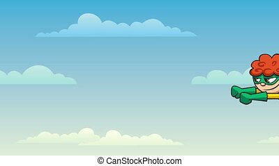 Super Boy Flying - Looping animation of super boy flying.