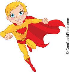 Super  Boy - Illustration of Super Hero Boy in the fly