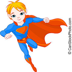 Illustration of Super Hero Boy in the fly