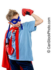super boy - A boy teenager in a costume of superhero....