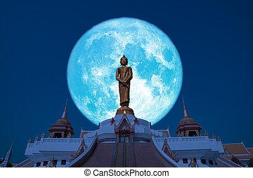 Super Buck moon on night sky in the Asanha bucha day back Sunday Buddha