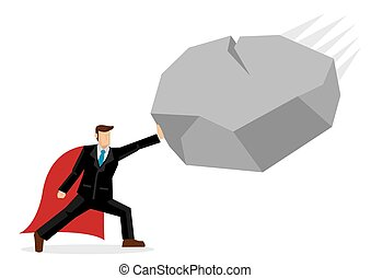 Super business man easily block attack from giant rock. Business concept of overcoming obstacles and challenges in the corporate world. Vector illustration.