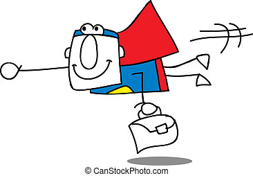 Super Business Man fly - Super businessman is flying with...