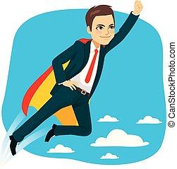 Super Business Man Hero Flying