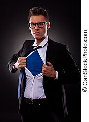 super business man - Young business man ripping off his...