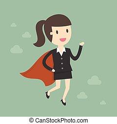Super Business Woman. Business Concept Cartoon Illustration.