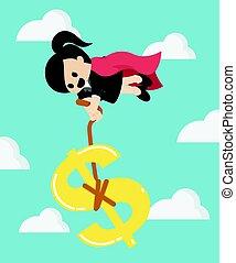 Super Business Woman pulling silver Dollar money symbol