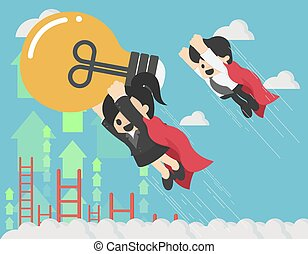 super business woman who is flying with a business friend in her hand holding a large light bulb that is going to succeed in the sky.