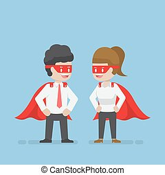 Super businessman and businesswoman