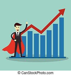 Super businessman, business concept