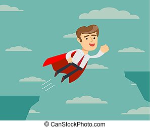 super businessman flying across the cliff