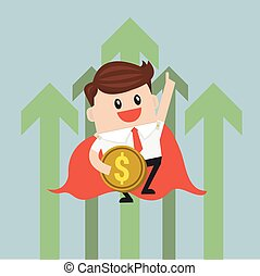Super businessman flying with growth graph.