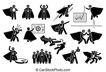 Super businessman icon set.