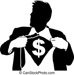 super businessman illustartion - A businessman tearing open...
