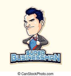 super businessman logo blue