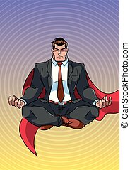 Super Businessman Meditating - Full length front view of...