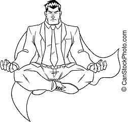 Super Businessman Meditating Line Art - Line art full length...