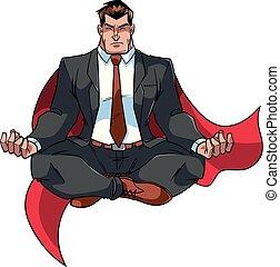 Super Businessman Meditating on White - Full length front...