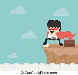 Super businessman on precipice