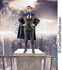 Super businessman - A brave businessman hero above the...