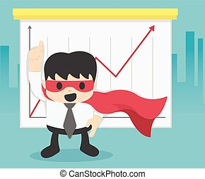 Super businessman with growing graph. Business concept cartoon