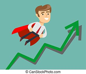 Super businessman with growing graph.