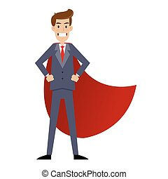 Super Businessman With Red Cape