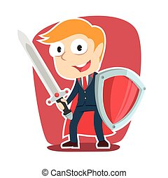 super businessman with sword and shield