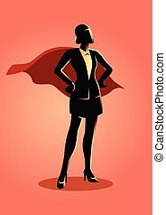Super businesswoman - Business concept illustration of a...