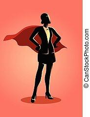 Business concept illustration of a super businesswoman