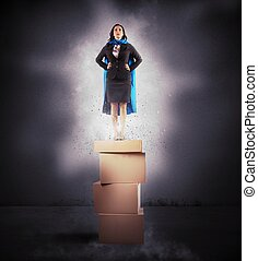 Super businesswoman - Concept of successful businesswoman ...