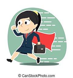 super businesswoman running to office