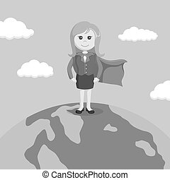 super businesswoman standing on globe black and white color style