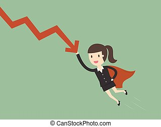 Super businesswoman stops the falling down chart.