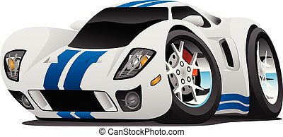 Super Car Cartoon Vector Illustration - Hot American style...