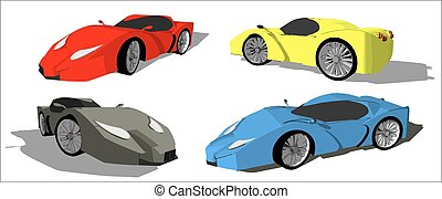 Super car from seen from different sides in red, grey, blue...