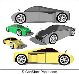 Super car from various angles in different colors