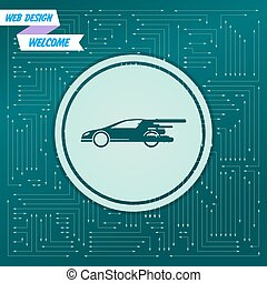 Super Car icon on a green background, with arrows in different directions. It appears  the electronic board. Vector