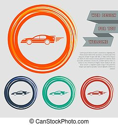 Super Car icon on the red, blue, green, orange buttons for your website and design with space text. Vector