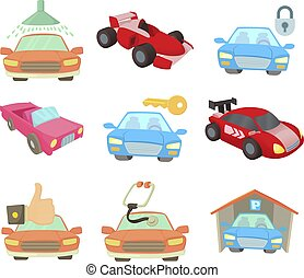 Super car icon set, cartoon style - Super car icon set....