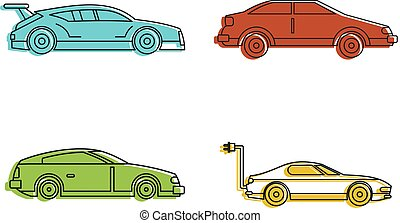 Super car icon set, color outline style - Super car icon...