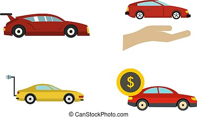 Super car icon set, flat style - Super car icon set. Flat...