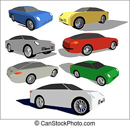 Super car in different positions - Vector image of a super...