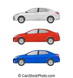 Super car realistic art side view. Generic automobile.