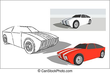 Super car  - Vector image of a super car easy editable.
