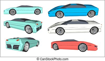 Super car - Vector image of a super car in various colors...