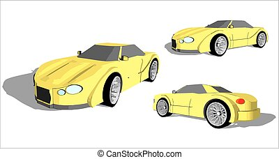 Super car - Yellow super car from various angles with grey...
