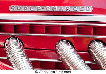 Super-Charged Duesenberg - Closeup of the Super-charged sign...